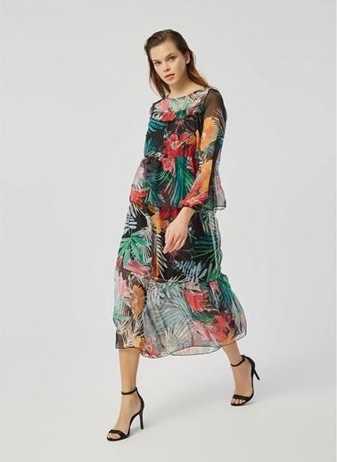 Monamoda Monamoda Katlı Renkli ÇiÇek Desenli Relax Fit Şifon Uzun Çok Renkli Kadın Elbise Siyah